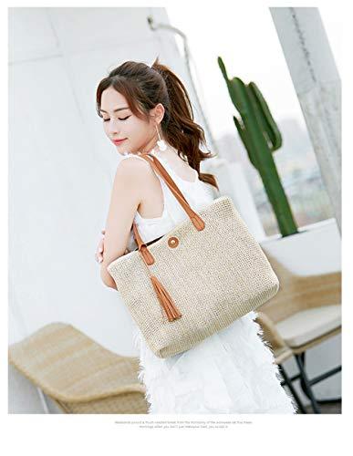 bag XNQXW bandolera woven Big shoulder bag fashion simple straw beach handbags Brown bag Bolsos UUBWxgzn