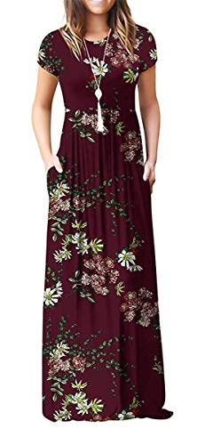 DEARCASE Women's Short Sleeve Loose Plain Maxi Dresses Casual Long Dresses with Pockets Flower Wine Red ()
