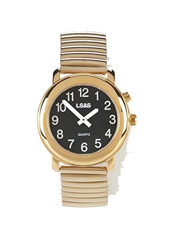 LS&S Talking Watch, 1-Button, Black Face, Gold Exp Band - Mens