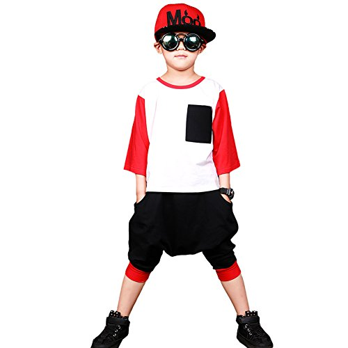 Dreamowl Children Boys Hip Hop Dance Costume Street Dance Outfit Dance Harem Pants (red, 14-16) by Dreamowl
