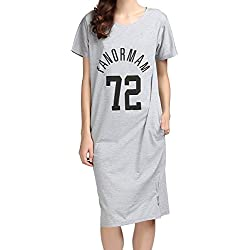 ten is heart Room wear Women's Short Sleeve Cotton Nightshirt Long Sleepwear Pajamas Logo Print (Medium, Gray) Nightgown Lounge wear Lingerie Loungewear Nighty Cotton Cute Holiday Ladies Plus Night