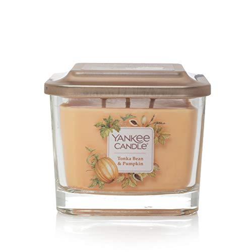 Yankee Candle Company Elevation Collection with Platform Lid, Medium 3-Wick Square Candle| Tonka Bean & Pumpkin