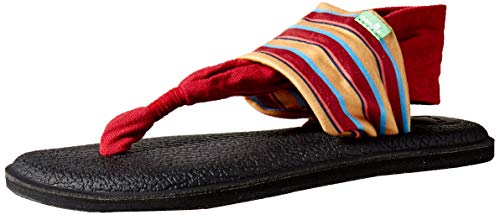 Sanuk Women's Yoga Sling 2 Prints Flat Sandal,sand harbor red,8 M US