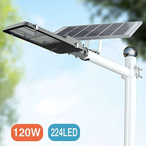 120W LED Solar Street Lights, Outdoor Dusk to Dawn Pole Light with Remote Control, Waterproof, Ideal for Parking Lot, Stadium, Yard, Garage and Garden (Cool White) (Solar Led Street Lighting)