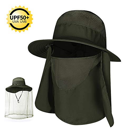 COPOZZ Outdoor Fishing Hat for Men Women, UPF 50+ Wide Brim Sun Hat Cap with Mosquito Net, Removable Face & Neck Flap, Breathable Boonie Hat for Backpacking Hiking Safari Beach Travel (Army Green) ()