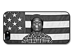 AMAF ? Accessories ASAP Rocky Rapper Portrait Smoking with American Flag case for iPhone 5 5S