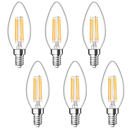 - Dimmable LED Candelabra Bulbs 40W Equivalent, E12 LED Filament Light Bulb 2700K Warm White, Decorative Chandelier Lamp, B11 Clear Glass Candle Torpedo Shape, Pack of 6