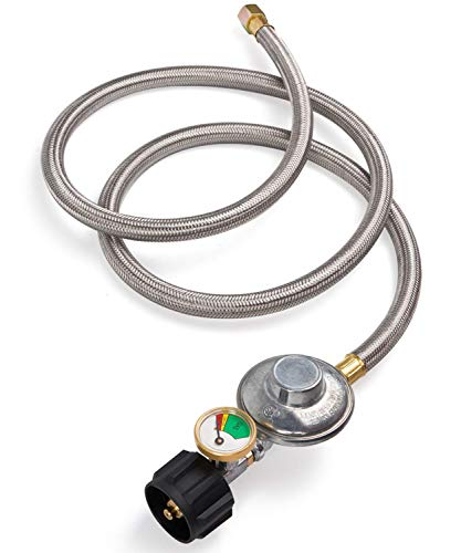 SHINESTAR 5ft Upgraded Propane Regulator Hose with Gauge, Stainless LP Gas Regulator for Burner Stove, Gas Water Heater, Forced Air Heater, Smoker, Burner Stove, Fire Pit