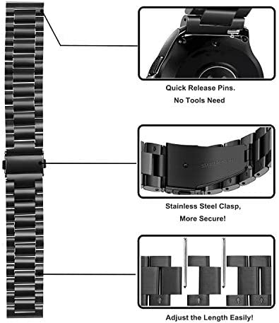 Band Sets for Samsung Galaxy Watch 42mm / Active 2 40mm 44mm, TRUMiRR 20mm 2 Pack Solid Stainless Steel Watchband + Mesh Woven Strap Quick Release Wristband for Garmin Vivoactive 3 Ticwatch E 41HJlTCCu3L
