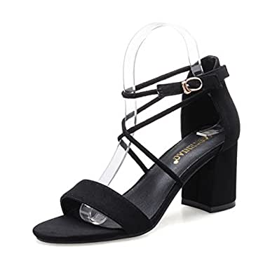 With Rough With Black SandalsJoker-toe Buckle Shoes-Black Foot length=22.3CM(8.8Inch)