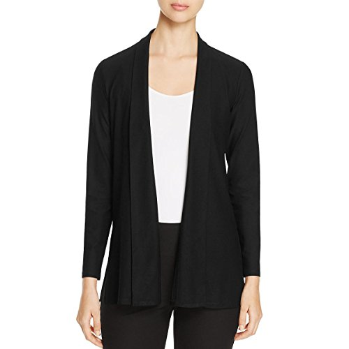 Eileen Fisher Womens Crepe Open Front Cardigan Top Black L