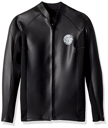 Rip Curl Aggro 1.5M Long Sleeve Front Zip Wetsuit Jacket, Black, L ()