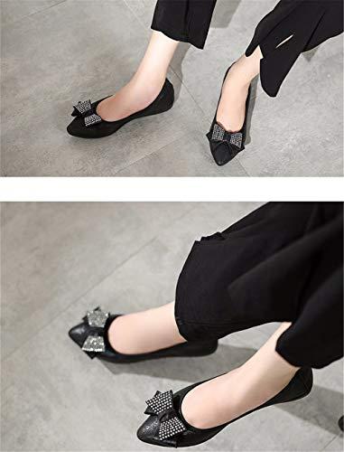 Zapatos Boca Solos Zapatos Moda de señaló Superficial imitación FLYRCX Gold de Ballet Plegable Planos Diamantes Damas de Mujeres Embarazadas Baja Zapatos Zapatos R5wXqpH