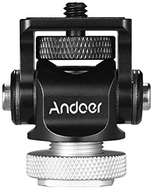 Andoer 180/° Rotary Mini Ball Head Ballhead Hot Flash Shoe Mount Adapter 1//4 Inch Screw with Wrench for DSLR Camera Microphone LED Video Light Monitor Tripod Monopod