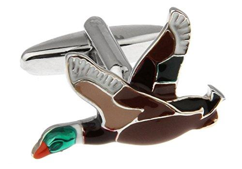 (MRCUFF Duck Flying Pair Cufflinks in a Presentation Gift Box & Polishing Cloth)