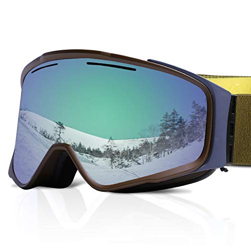 XR MAX 8 Ski Goggles for Men & Women – Anti-Fog Snow Goggles with Magnetic & Replaceable Double UV Protection Lens, Air Ventilation & Adjustable Headband for Skiing & Snowboarding ()