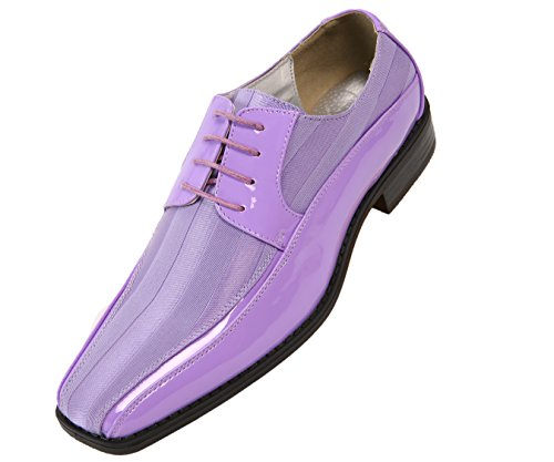 Viotti Men's Formal Oxford Dress Shoe Striped Satin and Patent Tuxedo Classic Lace Up With or Without Tip Style 179/5205 Lavender rAgZo