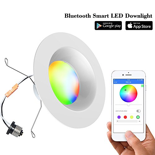 Smart LED Downlight-iLintek Bluetooth Multicolor 4 Inch/6 Inch Recessed Lights Color Changing RGBW LED Light - Bluetooth App Smartphone Controlled for Christmas Party - No Hub Needed (6inch)