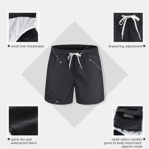 Freetrack Men Swim Trunks Quick Dry Beach Shorts Boy Board Short Bathing Suits Mesh Lining Swimwear