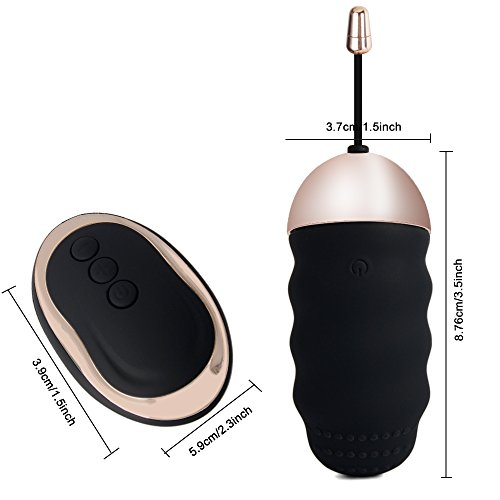LuckyTracker 10 Frequency Vibrating Egg Remote Control Silicone Bullet Vibrator Waterproof & Rechargeable Sex Toys for Women Or Couples (A-Black)