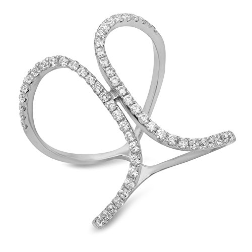 (Clara Pucci 0.7 CT Round Cut Pave Engagement Contemporary Cross Design Ring Band 14k White Gold, Size 10.25)