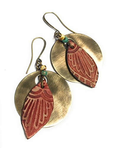 Boho Leather Feathers with Antique Gold Rounds Dangle Earrings