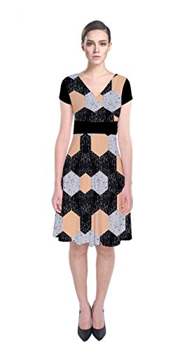Dress Womens Wrap Hexigon Short Marbel Fake 2 Material Front Leather CowCow Sleeve fdzaqwa7