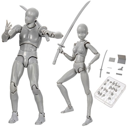Tulas Action Figure Drawing Models, 2 Pcs Human Drawing Mannequin Body Kun Doll Body-Chan Male/Female Action Figure DX Set with Accessories Kit, Suitable for Sketching, Painting, Drawing, Artist. (Body Chan Body Kun Manga Drawing Figure)