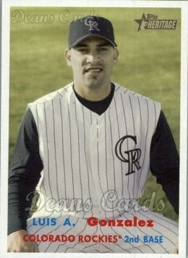 Gonzalez Baseball Luis (2006 Topps Heritage # 299 Luis A. Gonzalez Colorado Rockies (Baseball Card) Dean's Cards 8 - NM/MT Rockies)