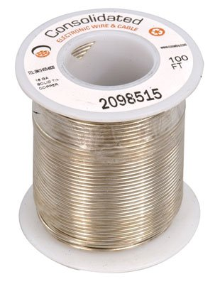 Jameco Valuepro 3815-100 Solid Tinned-Copper Bus Bar Wire, 16 AWG, 100' Length ()
