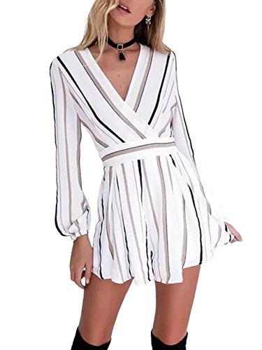 Swmmer Liket Women's Long Sleeve Striped Jumpsuit V Neck Rompers Playsuit White Medium