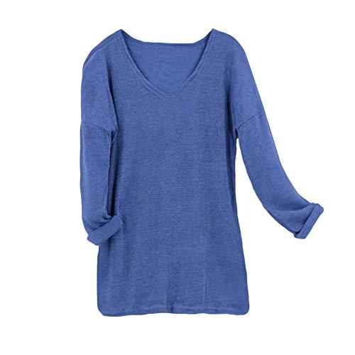 Automne Solid Unie Clair women Oversize Chemises Piebo Bleu Tops Taille Grande Longues Tous Pullovers Sweat Doux Multicoleur Lâche Couleur Blouse Manches Col shirt Casual V Les Jours wI5FxCaFnq