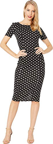 Unique Vintage Women's 1960s Stretch Mod Wiggle Dress Black/White Dotted Small