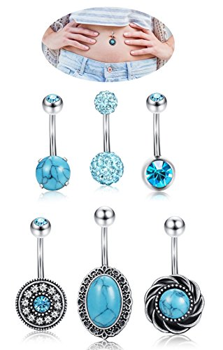 Ring Flower Teardrop Belly (Thunaraz 6pcs 14G Stainless Steel Belly Button Ring for Women Girl Turquoise Naval Ring Blue Crystal CZ Ball Screw Navel Bar)