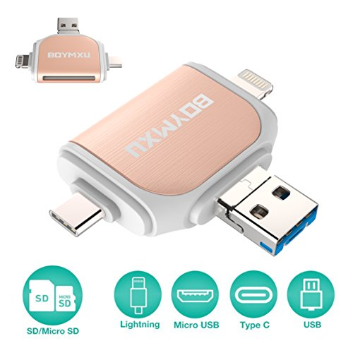 Editing Video Card (Micor SD Card Reader,BOYMXU Tf Card Reader iPhone iPad Android MacBook Computer,Memory Card Reader Adapter Lightning,USB C, Micro USB, USB, Picture Video Viewer Camera-Gold)