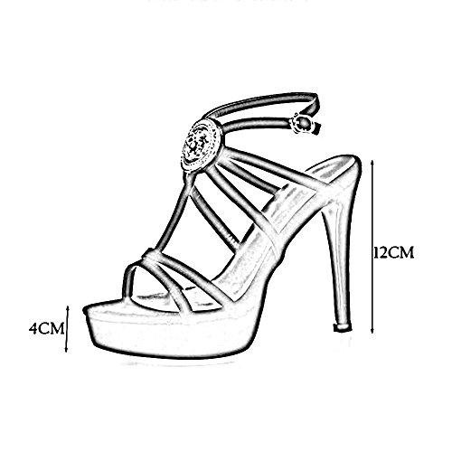 Sandals Feifei High Heels Women's Summer Round Head Waterproof Platform Cross Straps Open Toe Roman Shoes Nightclub Prom Show Shoe 12CM Black PNBJOJqg71