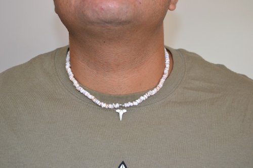 White Puka Shell Necklace with Shark Tooth Pendant