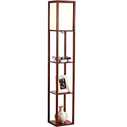 Brightech Maxwell - LED Shelf Floor Lamp - Modern Standing Light for Living Rooms & Bedrooms - Asian Wooden Frame with Open Box Display Shelves - Walnut Brown