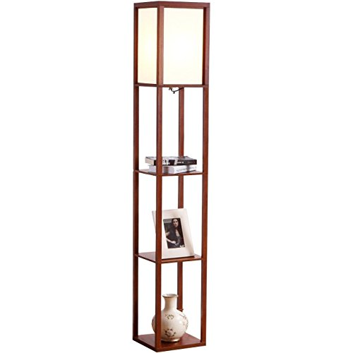 Brightech Maxwell - LED Shelf Floor Lamp - Modern Standing Light for Living Rooms & Bedrooms - Asian Wooden Frame with Open Box Display Shelves - Walnut ()