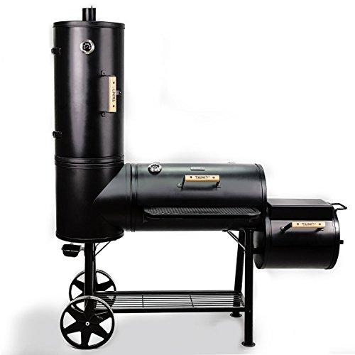 TAINO Chief 130 XXL Smoker 130kg BBQ GRILLWAGEN Holzkohle Grillkamin 3,5 mm Stahl Profi-QUALITÄT Räucherofen (130 kg…