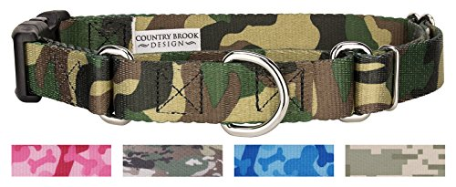 Country Brook Petz Martingale with Deluxe Buckle - Military & Camo Collection (Large, 1 Inch Wide, Woodland Camo) ()