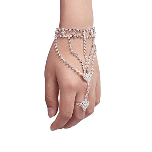 Hemlock Bangle Chain Bracelet, Women Love Hearts Bangle Bracelet Finger Ring Crystal Bracelet (Silver) ()