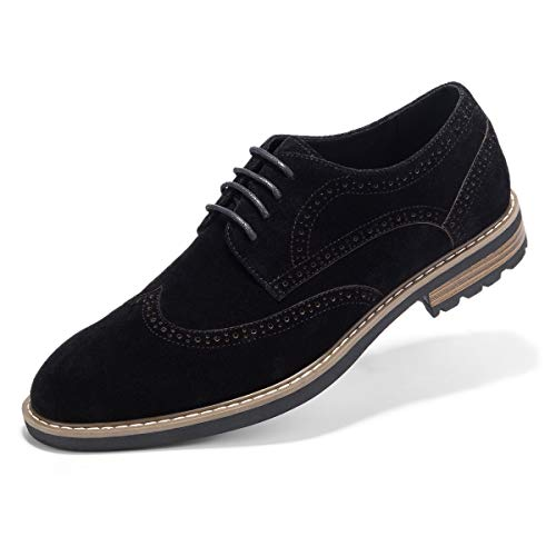 Men's Suede Leather Oxford Shoes Casual Lace up Dress Shoes Black 10 ()