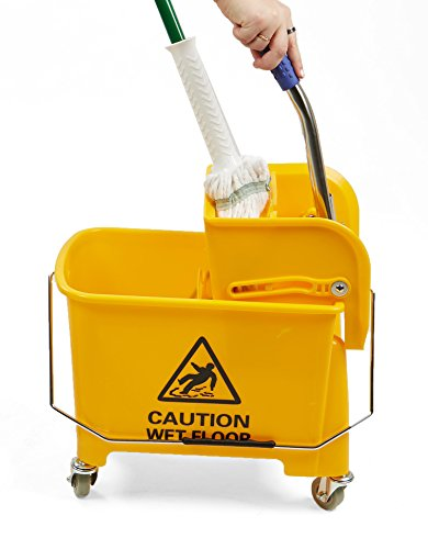 Mind Reader Commercial Mop Bucket - with Down Press Wringer - 22 Quart Capacity - Yellow by Mind Reader (Image #2)