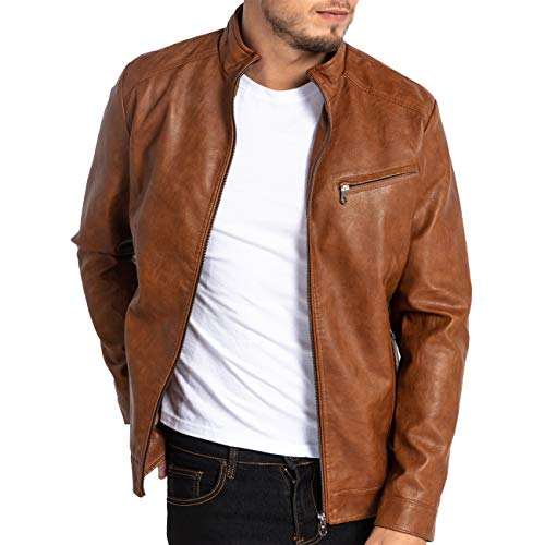MAGE MALE Men's PU Leather Jacket Vintage Stand Collar Motorcycle Jacket Slim Fit