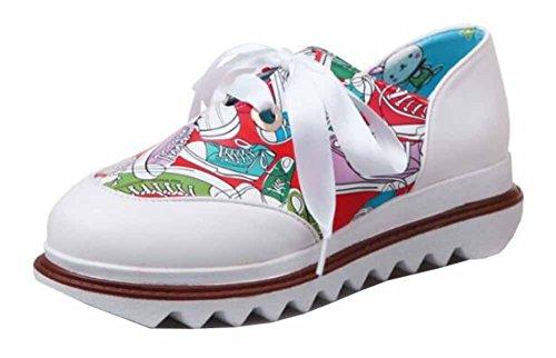 Showhow Damesmode Ronde Neus Lace Up Lage Top Mid Hak Platform Walking Fashion Sneakers Rood