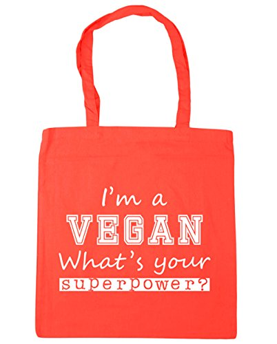 Coral Your Shopping 42cm x38cm HippoWarehouse Tote I'm Beach Gym Superpower What's A Vegan litres Bag 10 00ZUFxqw