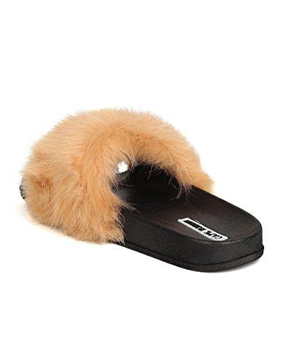 Cape Robbin MOIRA-5 Women Furry Open Toe Slip On Flat Sandal - Beige (7) h86mH