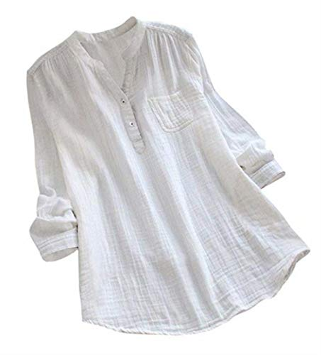 MNLYBABY Women Cotton Linen Oversized Blouse Stand Collar Long Sleeve Loose Tunic Top T-Shirt Size 3XL (White)