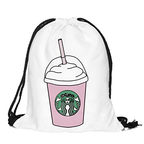 Price comparison product image Ababalaya 3D Print Drawstring Backpack Rucksack Shoulder Bags Gym Bag, Starbucks